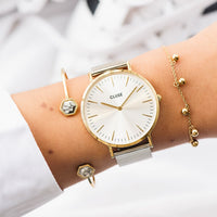 CLUSE La Bohème Mesh Gold/Silver CL18115 - watch on wrist