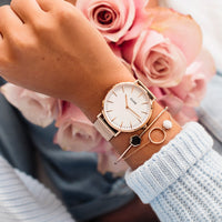 CLUSE La Bohème Mesh Rose Gold/White CL18112 - watch on wrist
