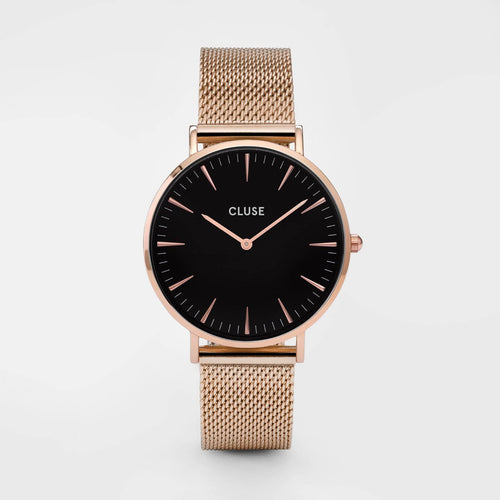 Image: CLUSE La Bohème Mesh Rose Gold/Black CL18113 - watch