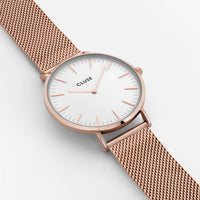 CLUSE La Bohème Mesh Rose Gold/White CL18112 - watch face detail