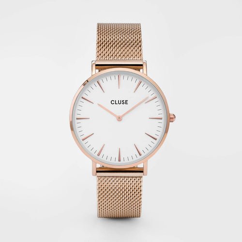 Image: CLUSE La Bohème Mesh Rose Gold/White CL18112 - watch