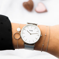 CLUSE La Bohème Mesh Silver/White CL18105 - watch on wrist
