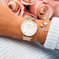 Strap 18 mm Mesh, Rose gold/Rose gold CS1401101010 - strap on wrist