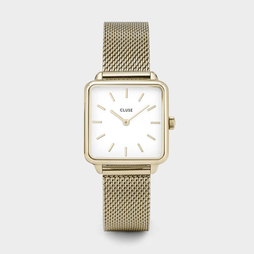 Image: CLUSE La Tétragone Gold Mesh/White CL60002 - watch