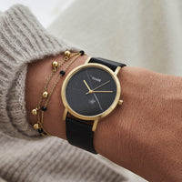 CLUSE La Roche Petite Gold Black Marble/Black CL40102 - watch on wrist