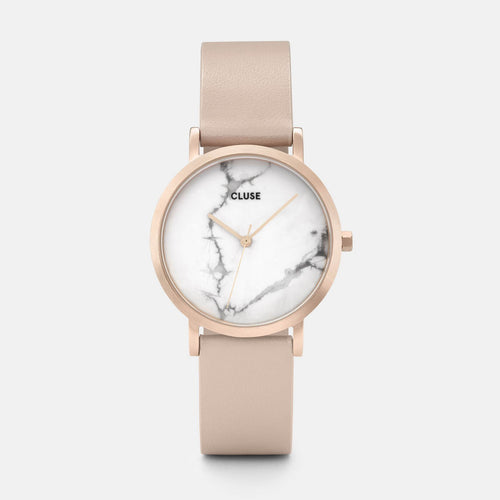 Image: CLUSE La Roche Petite Rose Gold White Marble/Nude CL40109 - watch