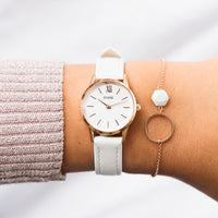 CLUSE 12 mm Strap White/Rose Gold CLS525 - strap on wrist