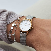 CLUSE La Vedette Mesh Rose Gold/Silver CL50024 - watch on wrist