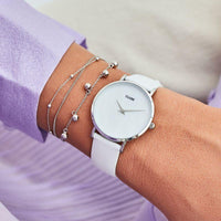 CLUSE Minuit La Perle Silver White Pearl/White CL30060 - watch on wrist