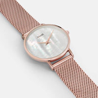 CLUSE Minuit La Perle Mesh Rose Gold/White Pearl CL30047 - watch face detail