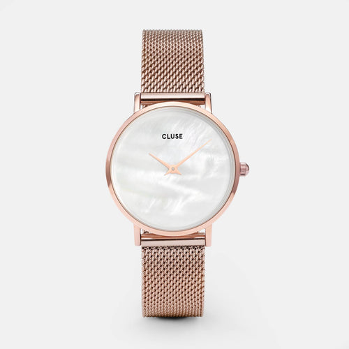 Image: CLUSE Minuit La Perle Mesh Rose Gold/White Pearl CL30047 - watch