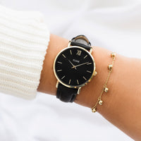 CLUSE Minuit Leather Gold Black/Black CW0101203019 - Watch on wrist