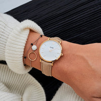 CLUSE Minuit Rose Gold White/Hazelnut CL30043 - watch on wrist