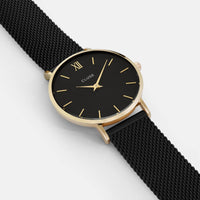 CLUSE Minuit Mesh Gold Black/Black CL30026 - watch face detail