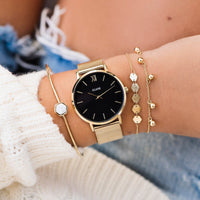 CLUSE Minuit Mesh Gold/Black CL30012 - watch on wrist