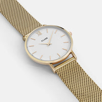 CLUSE Minuit Mesh Gold/White CL30010 - watch face detail