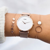 CLUSE Minuit La Perle Mesh Rose Gold/White Pearl CL30047 - watch on wrist