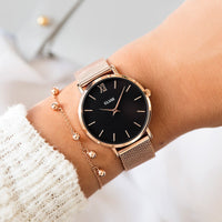 CLUSE Minuit Mesh Rose Gold/Black CL30016 - watch on wrist