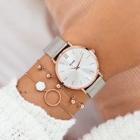 CLUSE Minuit Mesh, Rose Gold, Silver/Silver CW0101203004 - Watch on wrist