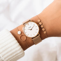 CLUSE Minuit Mesh Rose Gold/White CL30013 - watch on wrist