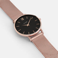 CLUSE Minuit Mesh Rose Gold/Black CL30016 - watch face detail