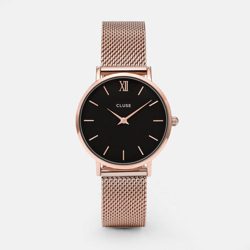Image: CLUSE Minuit Mesh Rose Gold/Black CL30016 - watch
