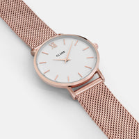 CLUSE Minuit Mesh Rose Gold/White CL30013 - watch face detail