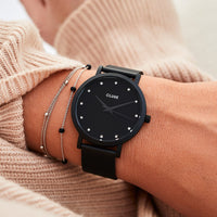 CLUSE Pavane Mesh Black, Black/Black CW0101202003 - Watch on wrist