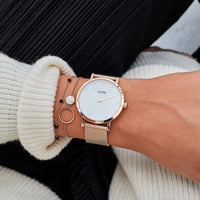 CLUSE Pavane Mesh Rose Gold White/Rose Gold CW0101202002 - Watch on wrist