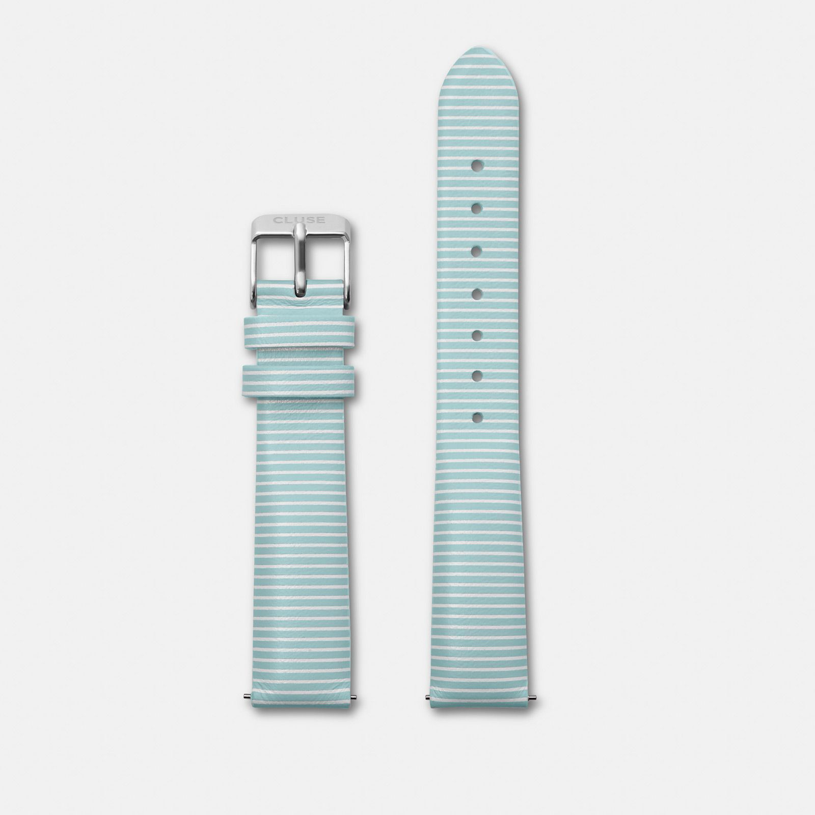 CLUSE 16 mm Strap Sky Blue Stripes/Silver CLS361 - strap