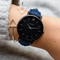 CLUSE 16 mm Strap Blue Denim/Black CLS353 - strap on wrist
