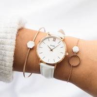 CLUSE 16 mm Strap White/Rose Gold CLS377 - strap on wrist