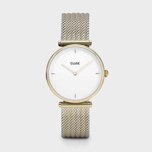 Image: CLUSE Triomphe Gold Bicolour Mesh CL61002 - watch