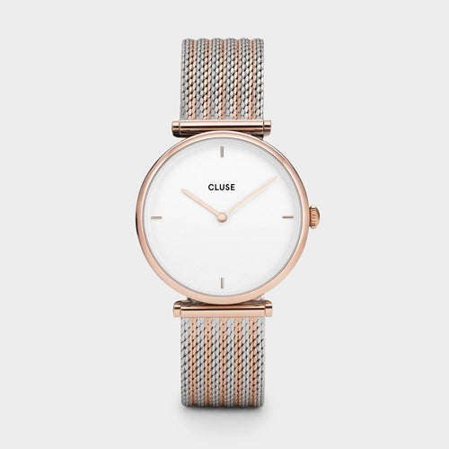 Image: CLUSE Triomphe Rose Gold Bicolour Mesh CL61003 - watch