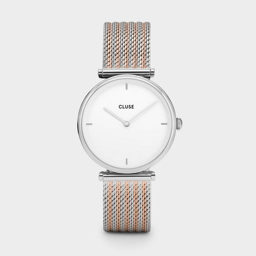 Image: CLUSE Triomphe Silver Bicolour Mesh CL61001 - watch