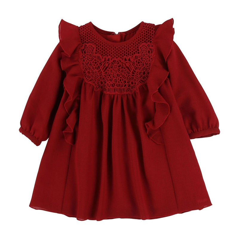 Chloe - Embroidered Dress For Girls, Dark Red