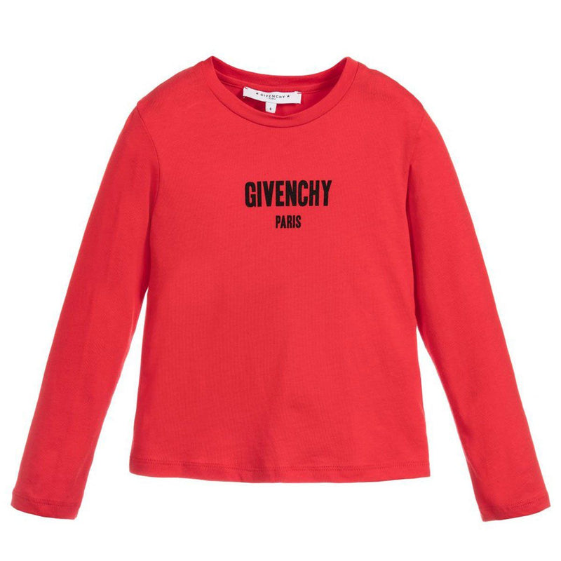Givenchy Long Sleeves T-Shirt For Girls, Red