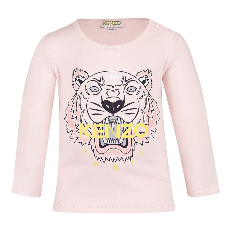 Kenzo Tiger T-Shirt for Baby Girls, Old Pink