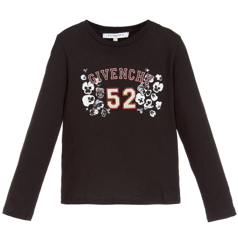 Givenchy Flower Printed Long Sleeves T-Shirt For Girls, Black
