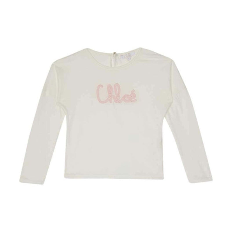 Chloe - Logo Embroidered T-Shirt For Girls, Off White