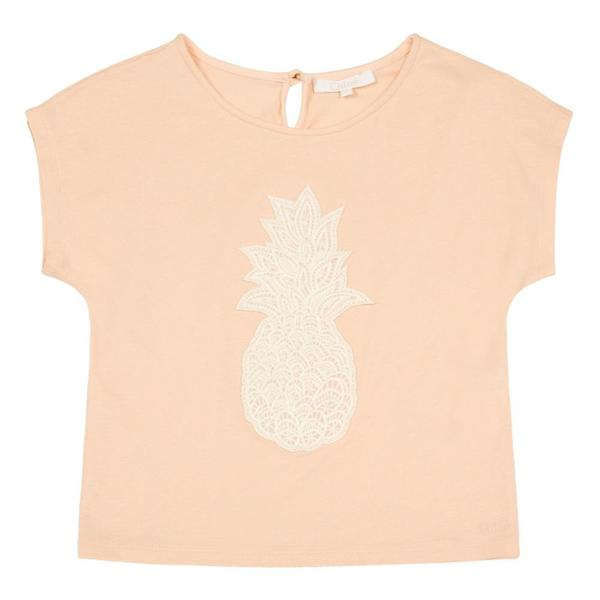 Chloe T-Shirt with Pineapple Patch for Girls, Orange