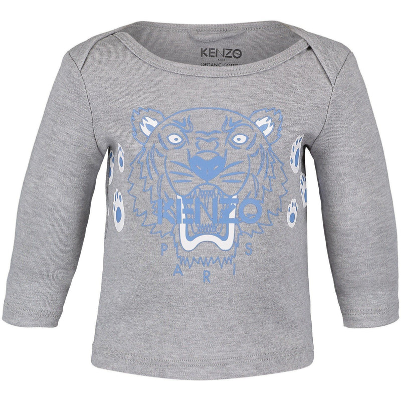 Kenzo New Born Tiger Bis-Tee Shirt For Boy Baby, Grey