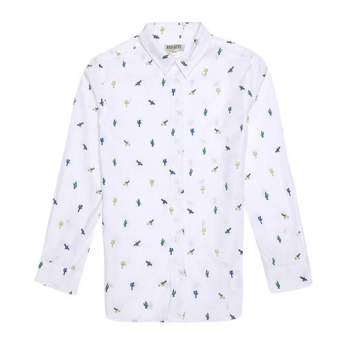 Kenzo - Cactus Print Shrit For Boys, White
