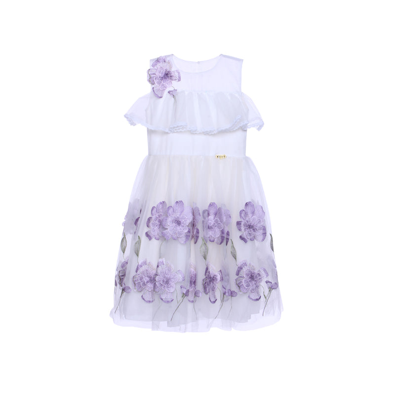 Angels Luxury Kidswear 3D Flower Dress  for Girls, Purple