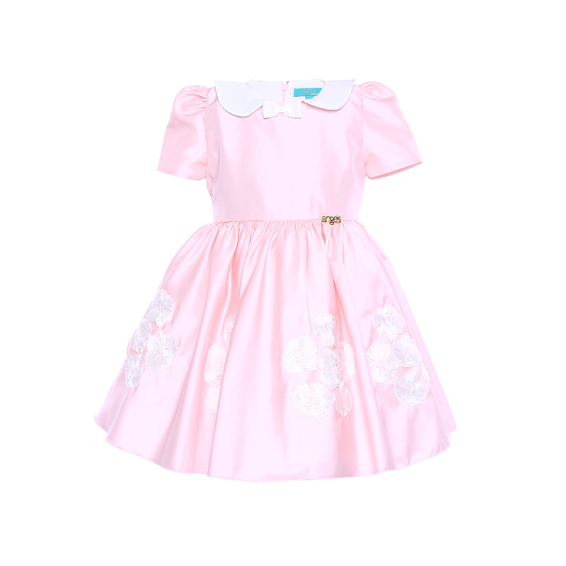 Angels Luxury Kidswear Girls Pink Satin Dress for Girls, Pink