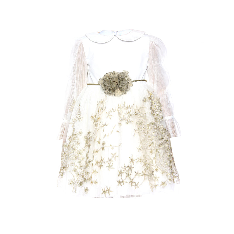 Angels Luxury Kidswear Girls Off White  Embroidery Tulle Dress for Girls, Off White