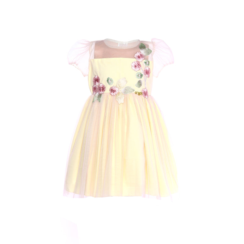 Angels Luxury Kidswear Girls Embroidery Tulle Dress for Girls, Yellow