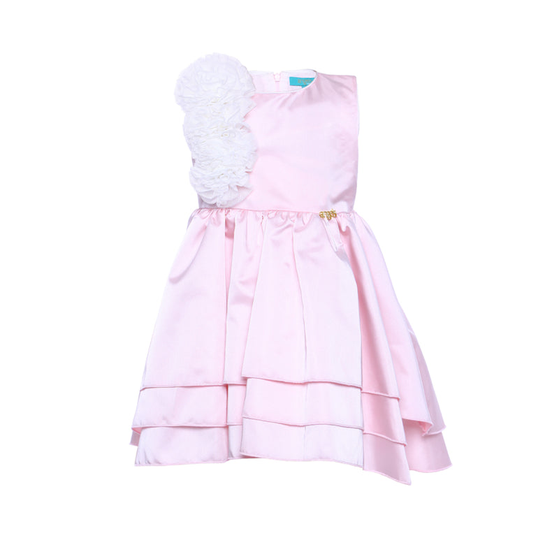 Angels Luxury Kidswear Girls Pink Satin Layered Dress for Girls, Pink