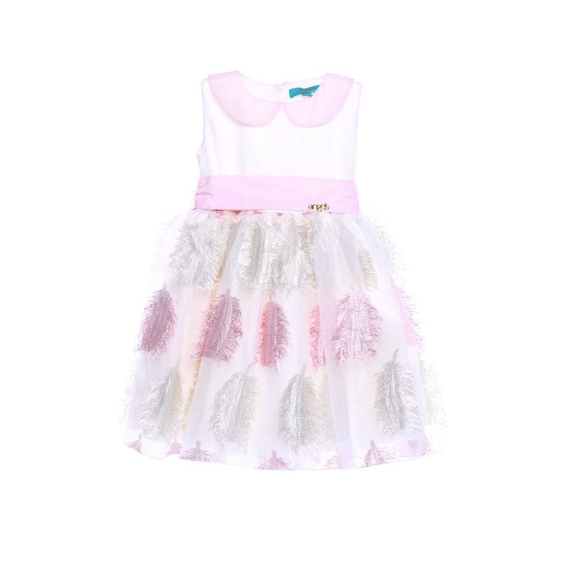 Angels Luxury Kidswear Pink Feather Dress for Girls, Pink
