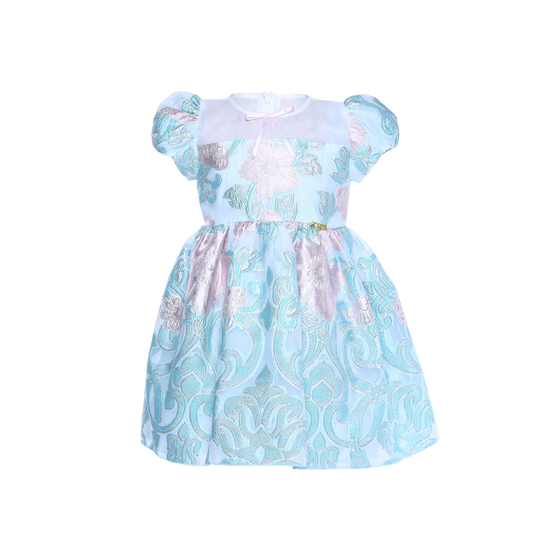 Angels Luxury Kidswear Brocade Dress for Girls, Blue
